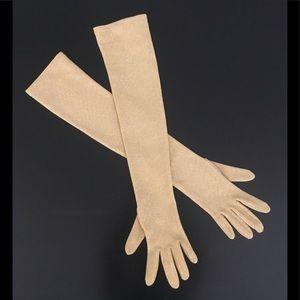 Gold Lurex Long Gloves
